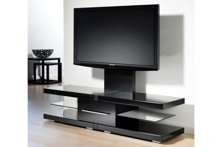 2017 Furniture: Charming Black Gloss Modern Tv Stands And Square Table With Regard To Square Tv Stands (View 1 of 20)