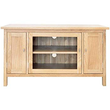 2017 Glass Front Tv Stands Regarding Balmain Tv Stand – Glass Front 2 Cupboards – Oak: Amazon.co.uk (Gallery 20 of 20)