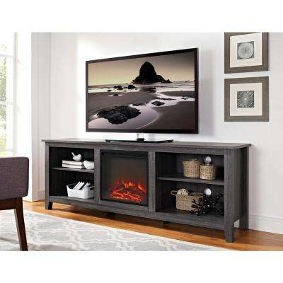 2017 Gray – Electric Fireplaces – Fireplaces – The Home Depot In Kenzie 60 Inch Open Display Tv Stands (View 1 of 20)