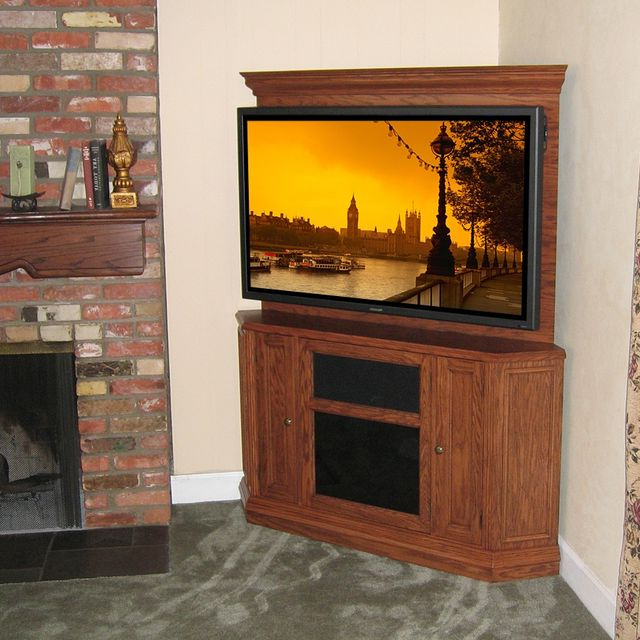 2017 Hand Crafted Custom Corner Oak Tv Stand Entertainment Center With Regard To Corner Oak Tv Stands For Flat Screen (View 1 of 20)
