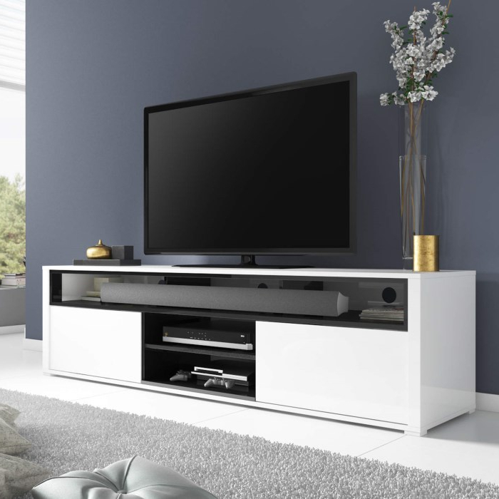 2017 Hi Gloss Tv Stands Large White Stand In High With Large White Tv Stands (Gallery 16 of 20)