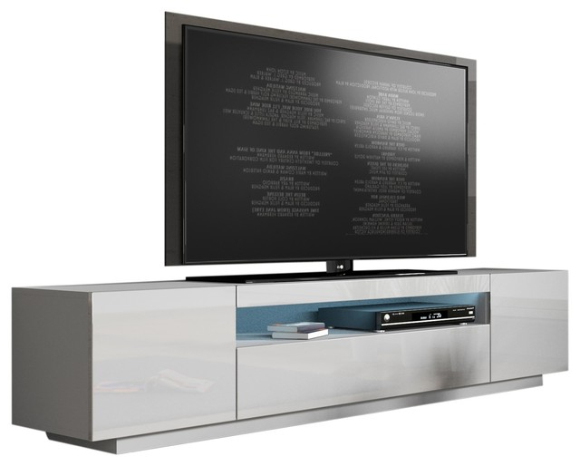 "2017 High Gloss Tv Benches For Miami 200 Modern 90"" Tv Stand High Gloss Front, 16 Colors Led (View 1 of 20)"