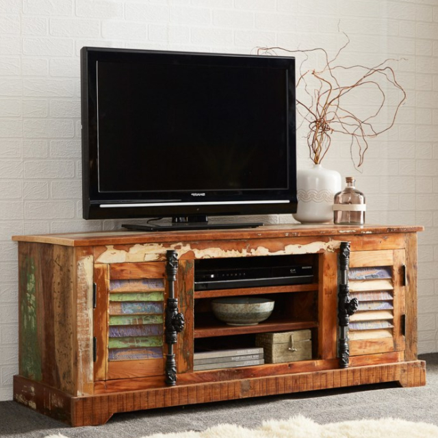 2017 Industrial Style Tv Stand Large Unit Furniture Reclaimed Wood With Regard To Industrial Style Tv Stands (Gallery 18 of 20)