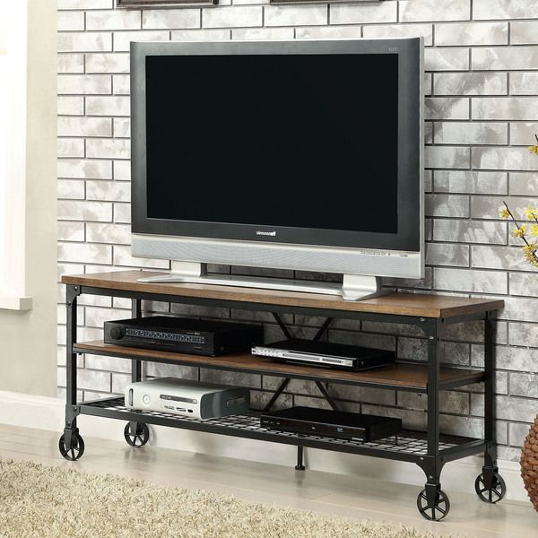 2017 Industrial Tv Cabinets With Regard To Furniture Of America Daimon Industrial Medium Oak Tv Stand (View 1 of 20)