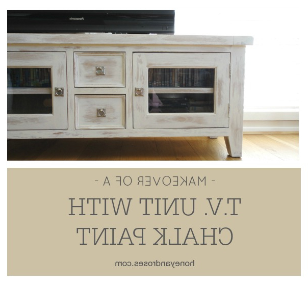 2017 Makeover Of A Tv Unit With Chalk Paint « Honey & Roses Within White Painted Tv Cabinets (View 11 of 20)