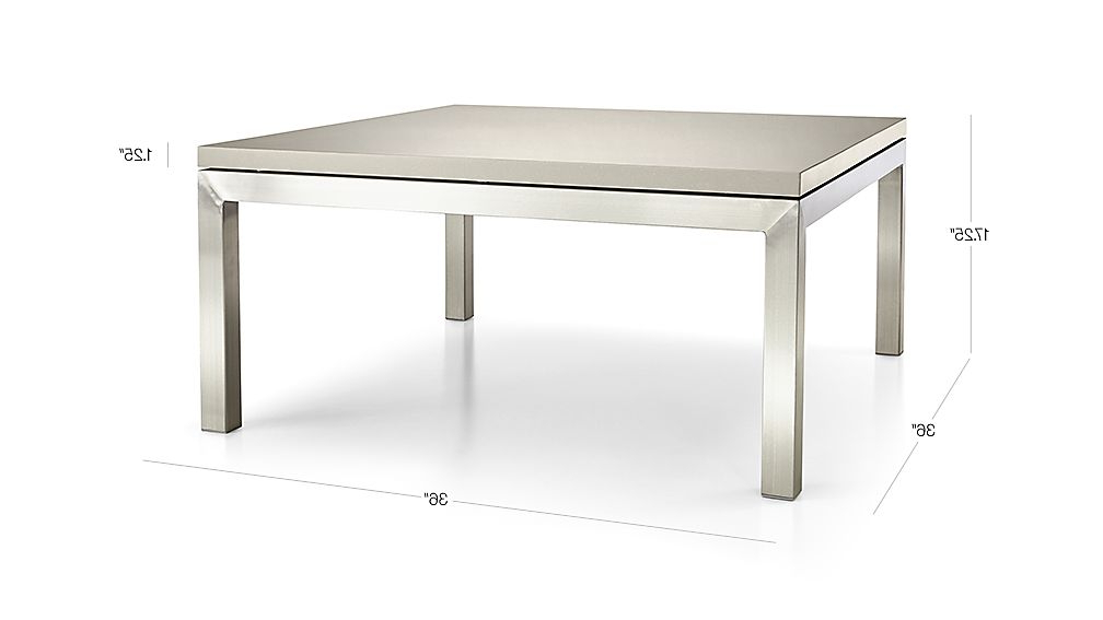 2017 Parsons Grey Solid Surface Top/ Stainless Steel Base 36x36 Square Intended For Parsons Grey Solid Surface Top & Elm Base 48x16 Console Tables (Gallery 2 of 20)