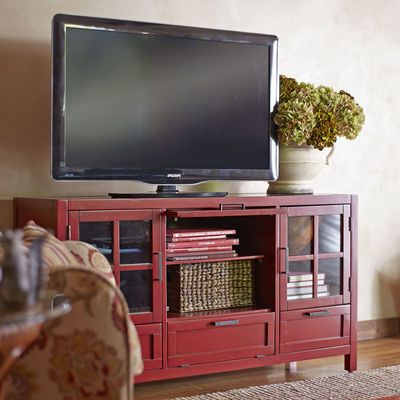 2017 Red Tv Cabinets With Sausalito Medium Tv Stand – Antique Red (Gallery 7 of 20)