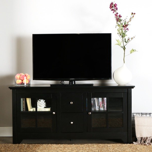 2017 Shop Porch & Den Leona 52 Inch Black Solid Wood Tv Stand – Free In Solid Wood Black Tv Stands (Gallery 2 of 20)