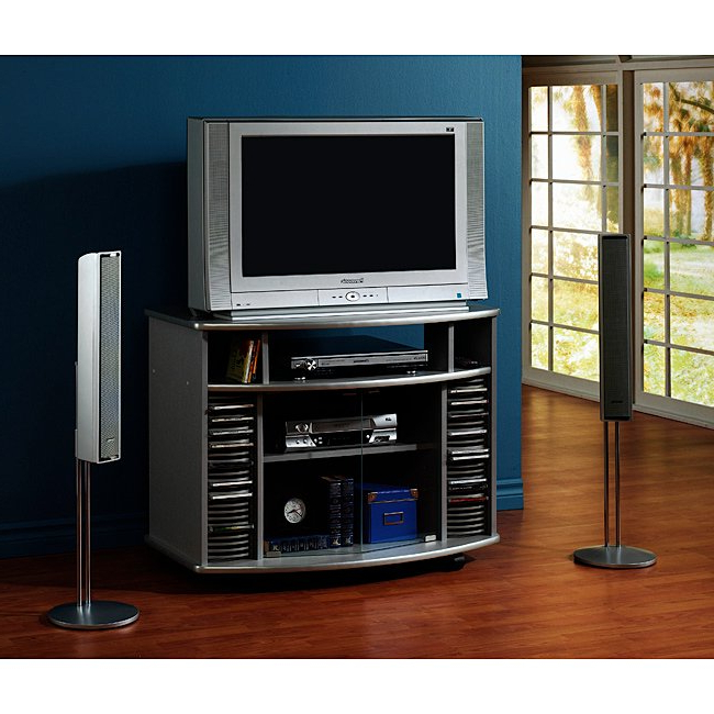2017 Silver Corner Tv Stands Within Shop Silver Corner Tv Stand With Glass Doors – Free Shipping Today (View 1 of 20)