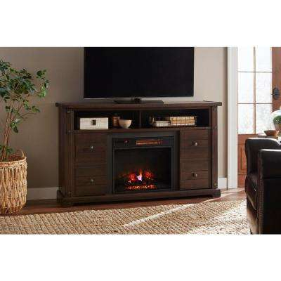 2017 Sinclair White 68 Inch Tv Stands With Cherry – Fireplace Tv Stands – Electric Fireplaces – The Home Depot (View 20 of 20)