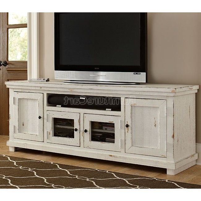 2017 Sinclair White 74 Inch Tv Stands For Willow 74 Inch Entertainment Console (distressed White) (View 3 of 20)