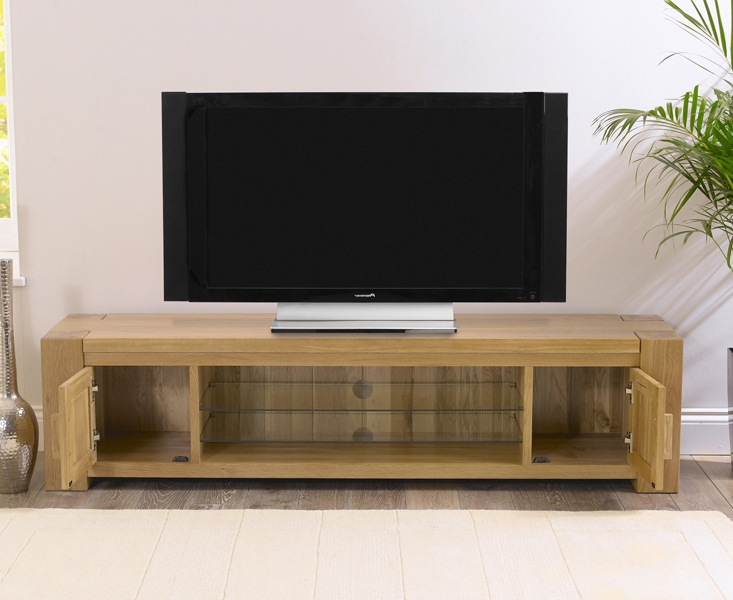 2017 Solid Oak Tv Cabinets With Buy Mark Harris Tampa Solid Oak 2 Door Tv Unit – 180Cm Online – Cfs Uk (View 2 of 20)