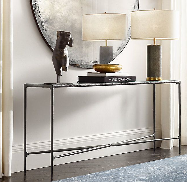 2017 Thaddeus Forged Brass & Glass Rectangular Entry Console (View 18 of 20)