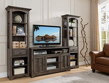 2017 Tv Stand Wall Units Regarding Amazon: Kings Brand Furniture Austin Distressed Grey 3 Piece Tv (View 2 of 20)