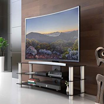 2017 Tv Stands For Tube Tvs Pertaining To Amazon: Fitueyes Tempered Glass Curved Tv Stand In Black Suit (View 1 of 20)