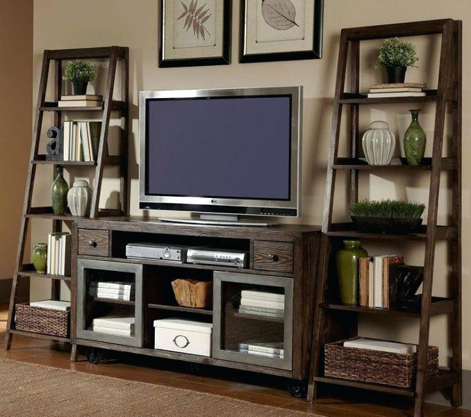 2017 Tv Stands With Bookcases Inside Tv Stand With Side Shelves In Design Bookcases – Yourlegacy (View 1 of 20)