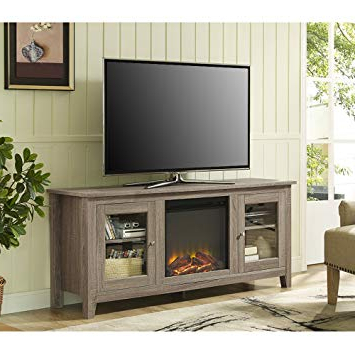 "2018 Amazon: We Furniture 58"" Wood Fireplace Tv Stand Console Throughout Casey Grey 66 Inch Tv Stands (Gallery 1 of 20)"