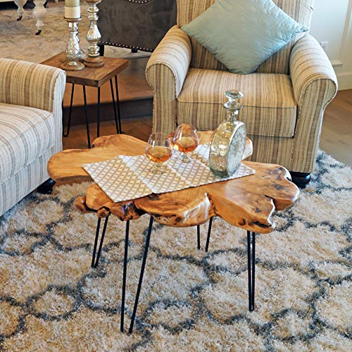 2018 Amazon: Welland Live Edge Coffee Table, Wood Slab Coffee Table With Moraga Live Edge Plasma Console Tables (View 3 of 20)