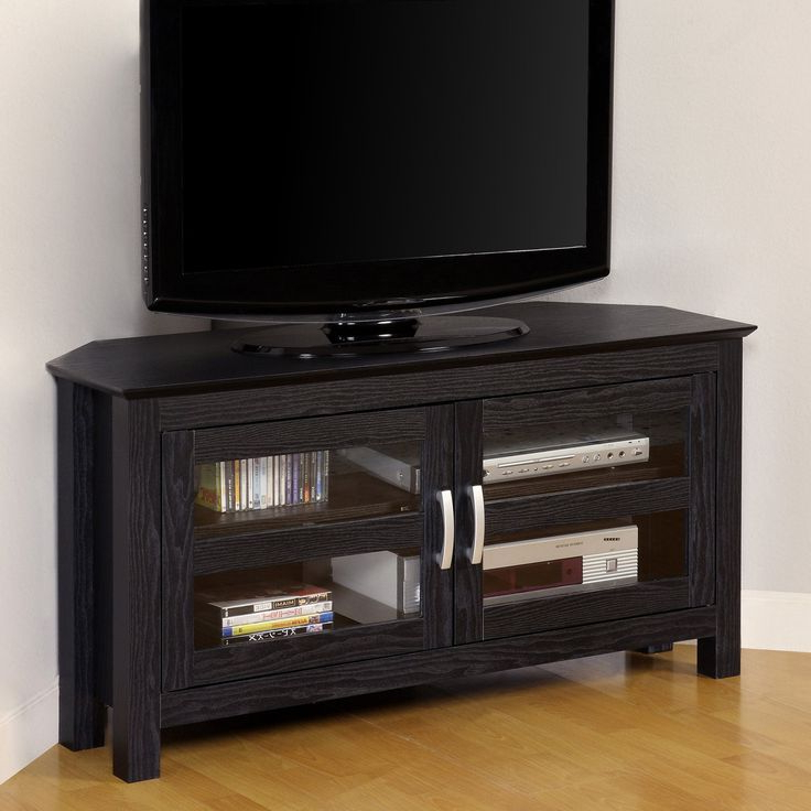 2018 Black Corner Tv Cabinets With Glass Doors With Regard To Tv Cabinets With Glass Doors (View 2 of 20)
