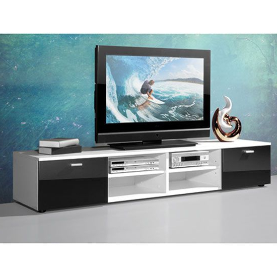 2018 Contemporary Tv Stand For Flat Screens In White With Gloss Doors Within Contemporary Tv Stands For Flat Screens (Gallery 3 of 20)
