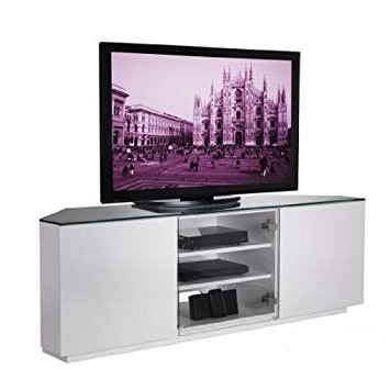 2018 Corner Tv Cabinets With Glass Doors Inside Wilson White Gloss Corner Tv Stand With Clear Glass Door (Flat Pack (View 9 of 20)