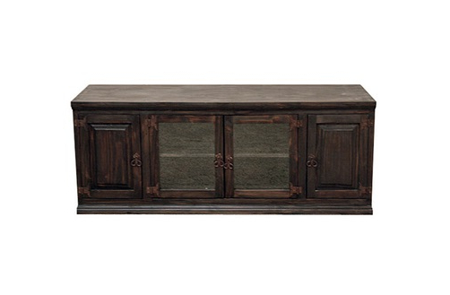 "2018 Dark 60"" Tv Stand With Glass Doors Flat Screen Console Rustic In Dark Wood Tv Stands (View 1 of 20)"