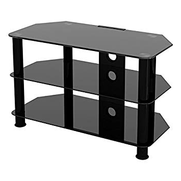 "2018 Glass Tv Stands In King Universal Black Glass Tv Stand 80Cm Suitable Up To 42"" Inch For (View 1 of 20)"