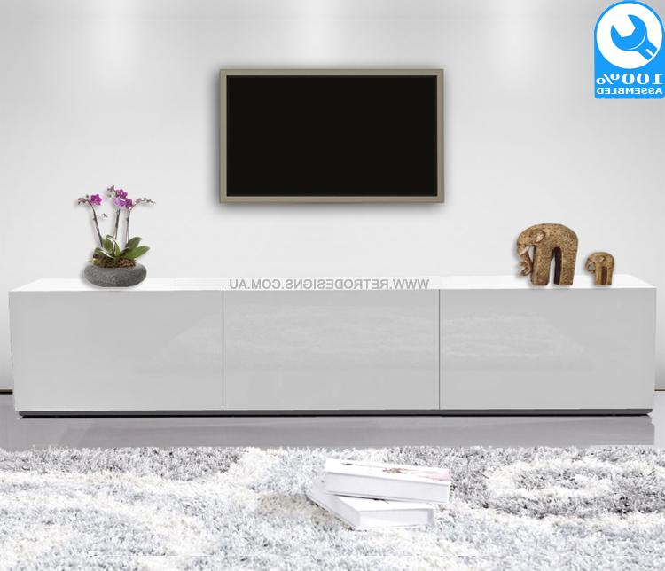 2018 Gloss White Tv Cabinets Regarding 1.8M High White Gloss Suprilla Tv Unit (Gallery 11 of 20)