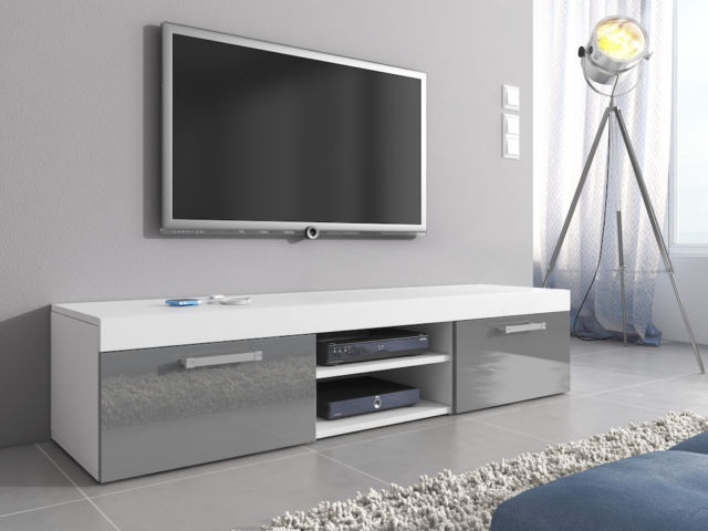 2018 Grey High Gloss Tv Unit Cabinet Stand Mambo Body White Matte Intended For White Gloss Tv Cabinets (View 3 of 20)