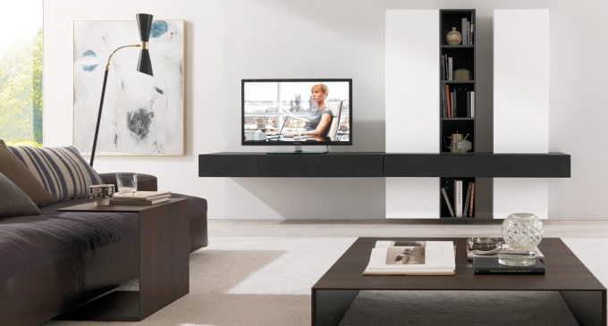 2018 Modern Wall Mount Tv Stands With Regard To Ideas: Modern Living Room Storage Design With Nice Wall Mounted Tv (Gallery 7 of 20)