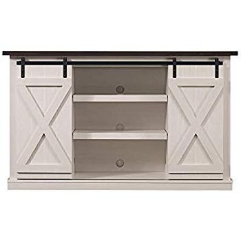 "2018 Noah Rustic White 66 Inch Tv Stands Intended For Amazon: Anton White 80"" Rustic Tv Stand: Kitchen & Dining (View 2 of 17)"