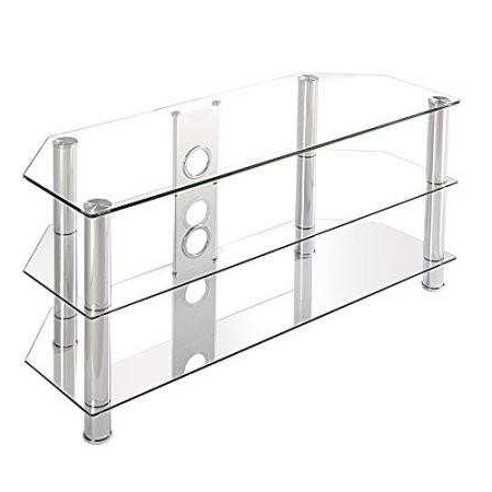 2018 Online Shop Fitueyes Curved Silver Corner Tv Stand For Up To 46Inch For Silver Corner Tv Stands (View 2 of 20)