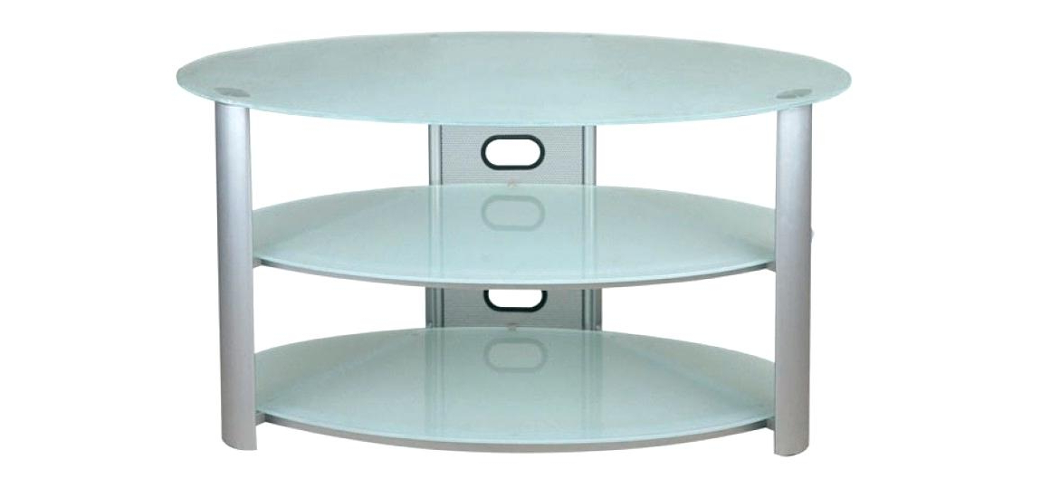 2018 Oval White Tv Stands Throughout White Glass Tv Stand Elegant Frosted Glass Stand In Oval White (Gallery 13 of 20)