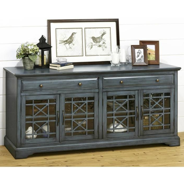 """2018 Sinclair Blue 64 Inch Tv Stands Within Craftsman 70"""" Tv Console In Antique Blue (View 1 of 20)"""