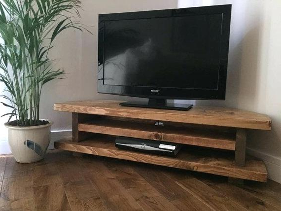 2018 Solid Wood Corner Tv Stands Shabby Chic Chunky Solid Wood Corner With Solid Wood Corner Tv Cabinets (Gallery 19 of 20)