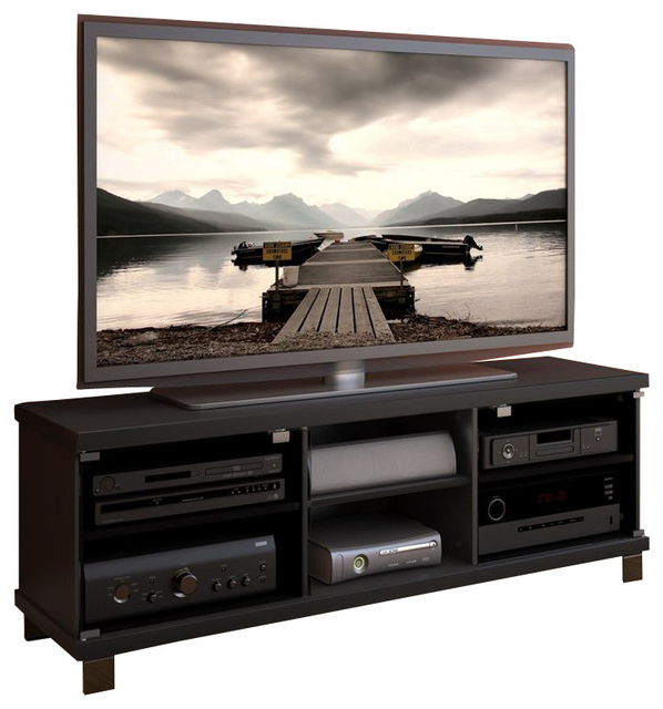 2018 Sonax Hollow Core Tv Stand And Component Bench In Midnight Black With Regard To Sonax Tv Stands (View 2 of 20)