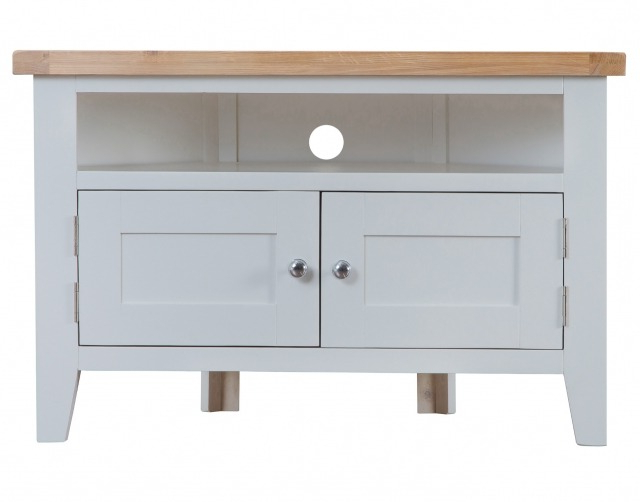 2018 St Ives Grey Painted Corner Tv Unit – Corner Tv Stands – Furniture World Within Painted Corner Tv Cabinets (Gallery 3 of 20)