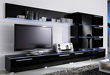 "2018 Tv Wall Unit ""blue Line"" (Black Gloss): Amazon.co (View 3 of 20)"