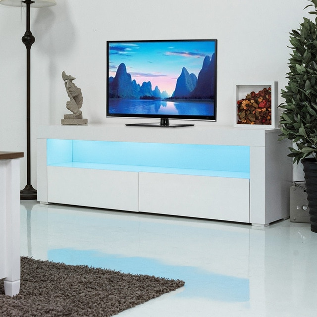 2018 White Tv Cabinets Intended For Giantex Living Room Tv Stand Unit Cabinet Console Furniture With Led (View 2 of 20)