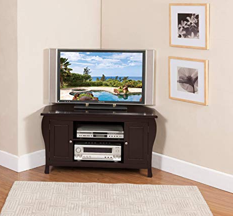 2018 Wooden Corner Tv Stands Pertaining To Amazon: Kings Brand Espresso Finish Wood Corner Tv Stand (View 1 of 20)