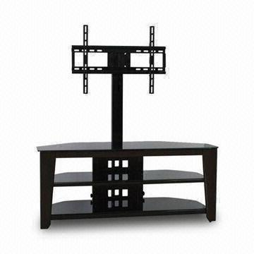 3 In 1 Tv Stand, Made Of Metal, Glass, Wood And Mdf Board, With No For Widely Used Wood Tv Stand With Glass (View 11 of 20)