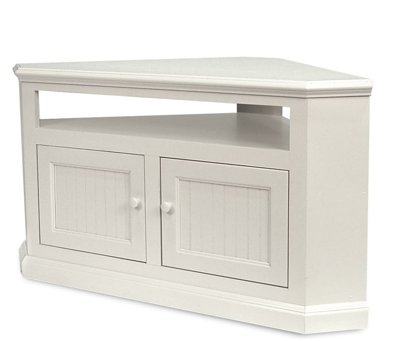 $370 On Sale Boston Interiors: Coastal Corner Tv Stand – Soft White For Most Up To Date Tv Stands For Corners (View 2 of 20)