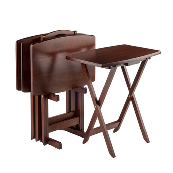 4 Set One Stand Foldable Wooden Tv Tray Table Walnut Side Table For Inside Preferred Folding Wooden Tv Tray Tables (View 13 of 20)