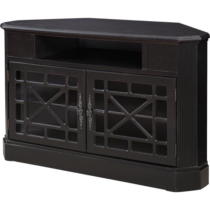 50 Inch Textured Black Corner Tv Stand (Gallery 5 of 20)