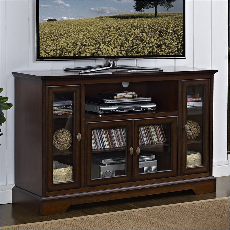 "52"" Highboy Style Wood Tv Stand In Rustic Brown – W52C32Rb – Lowest Pertaining To Widely Used Highboy Tv Stands (View 14 of 20)"