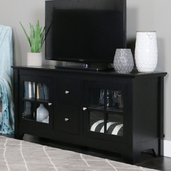 52 Inch Black Solid Wood Tv Stand (View 2 of 20)