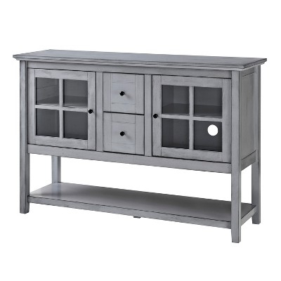 52 Wood Console Table Buffet Tv Stand – Vintage Gray – Saracina Home For Most Up To Date Sinclair White 68 Inch Tv Stands (Gallery 5 of 20)