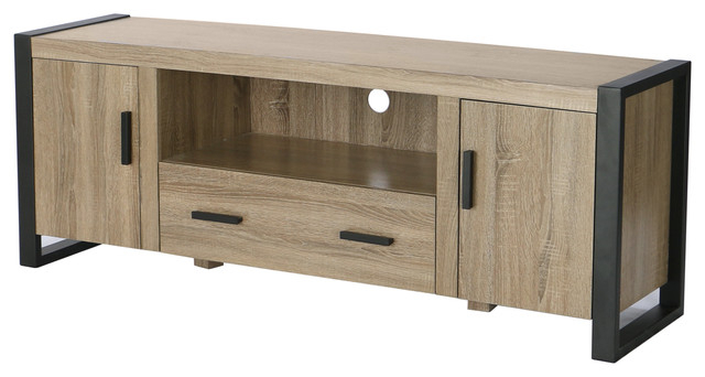 "60"" Ash Gray Wood Tv Stand Console, Driftwood – Industrial Intended For Trendy Grey Wood Tv Stands (View 2 of 20)"