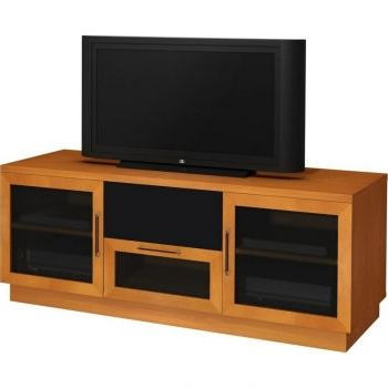 "60"" Contemporary Tv Stand Home Theater Cabinet W/ Center Speaker Pertaining To Recent Light Cherry Tv Stands (View 2 of 20)"
