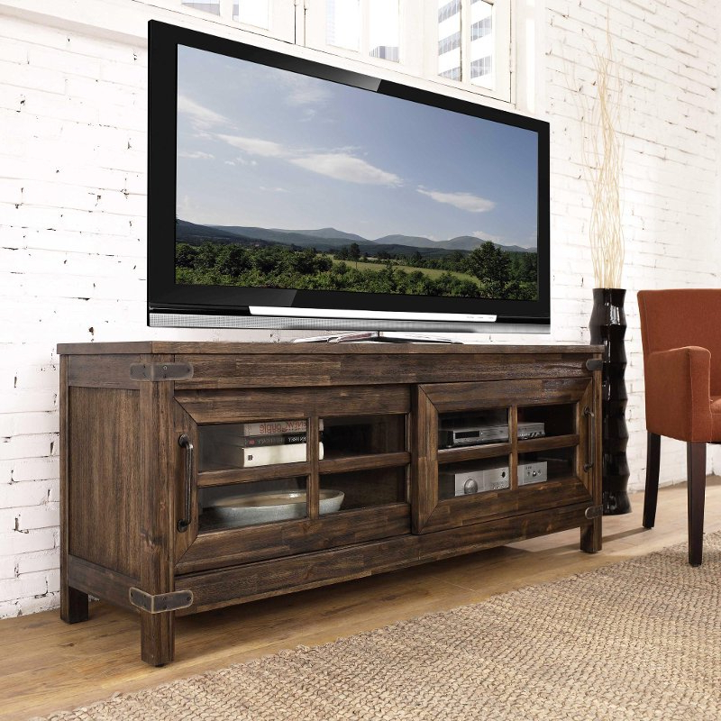 64 Inch Rustic Walnut Tv Stand – New Castle (View 2 of 20)